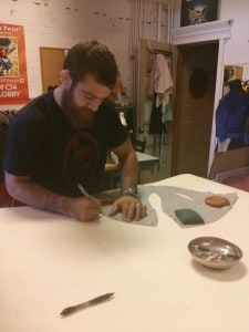 Josh, working with pattern for headless horseman costume