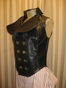 Finished vest made from leather, after design has been mocked up in muslin, fitted and patterned.
