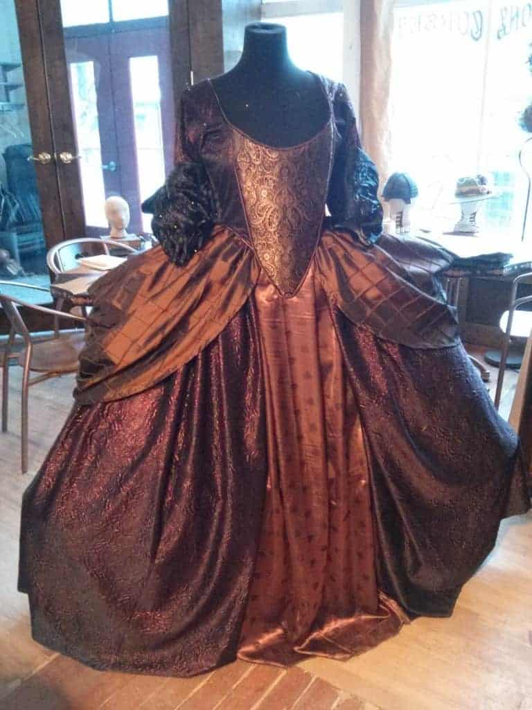 Custom 18th century gown with corseted bodice and panniers. Built for the Filmed in Utah Awards show