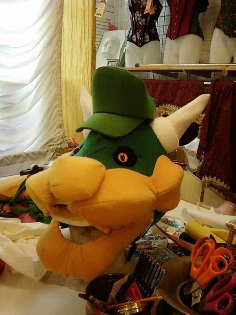A BOWSER custom head, in progress at the shop