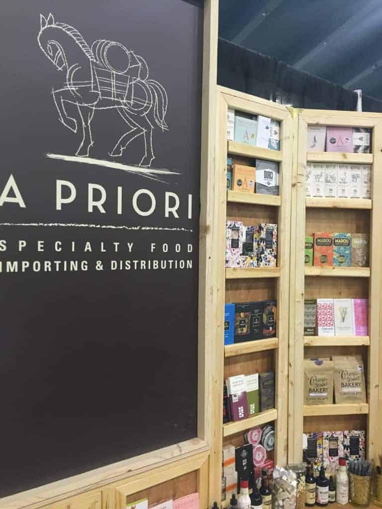 Artisan convention display for artisan chocolates from Apriori Distributing