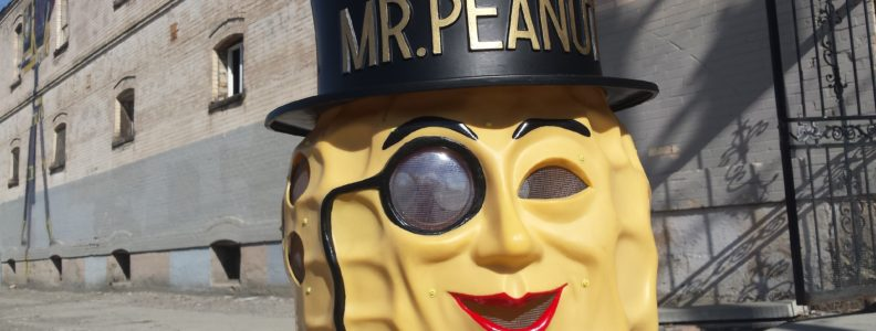 Vintage Mr. Peanut costume, restored and ready for action.