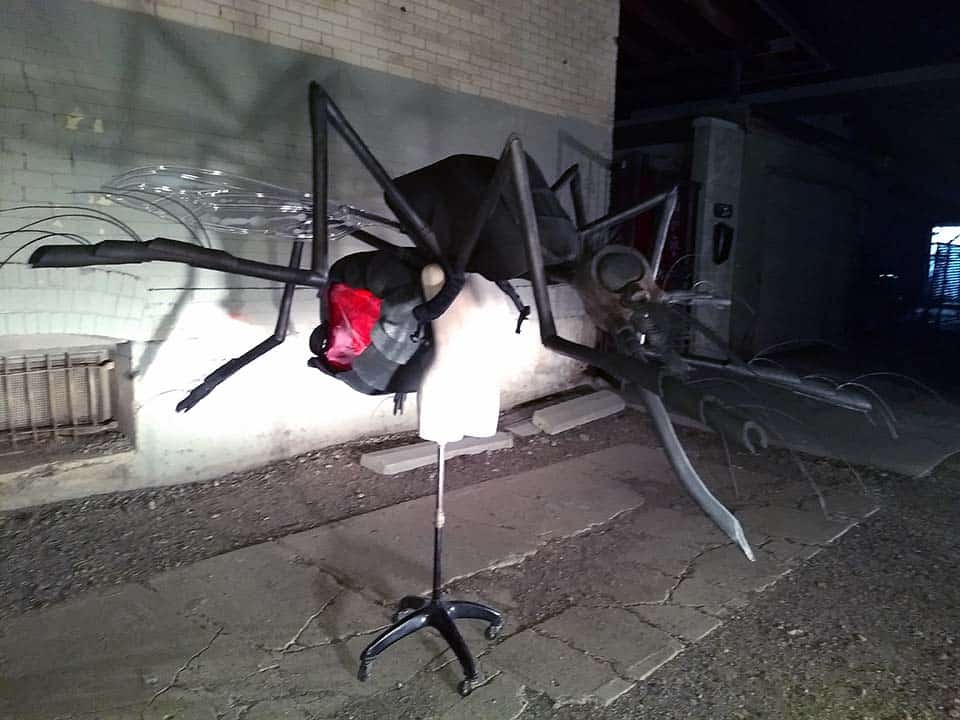 "Mosquito mascot's lighting effects have several settings and glows red with blood through its vinyl side abdomen ""windows"""