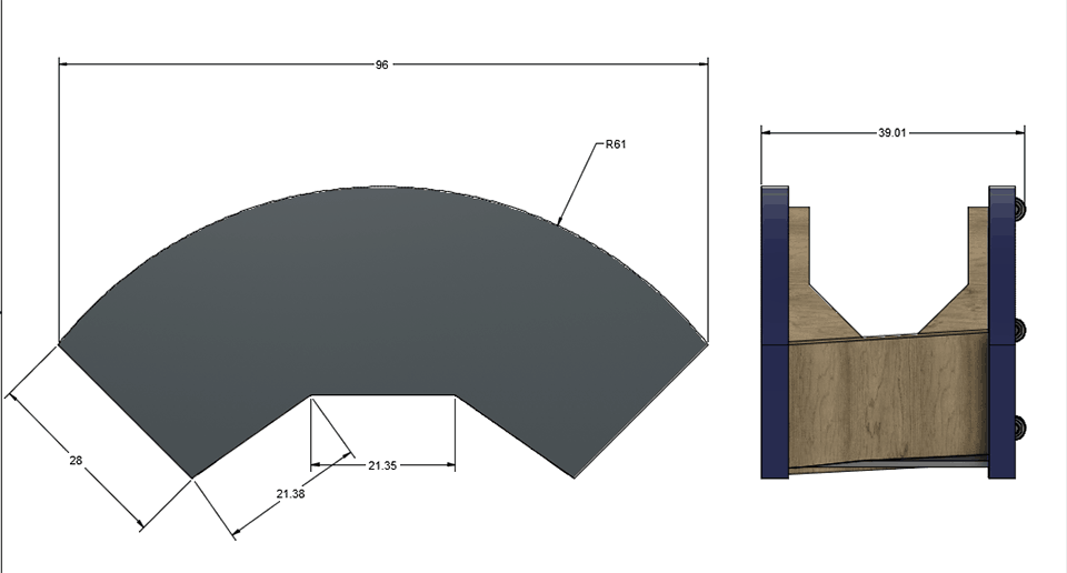 BladeHQ custom table components in CAD with dimensions
